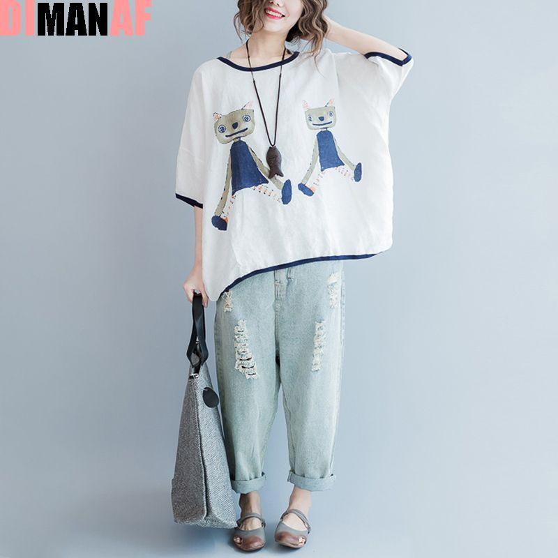 Grande taille été Style T-Shirt femmes motif chat imprimé lin mignon T-Shirt femme boutons grande taille lâche mode hauts noirs & t-shirts