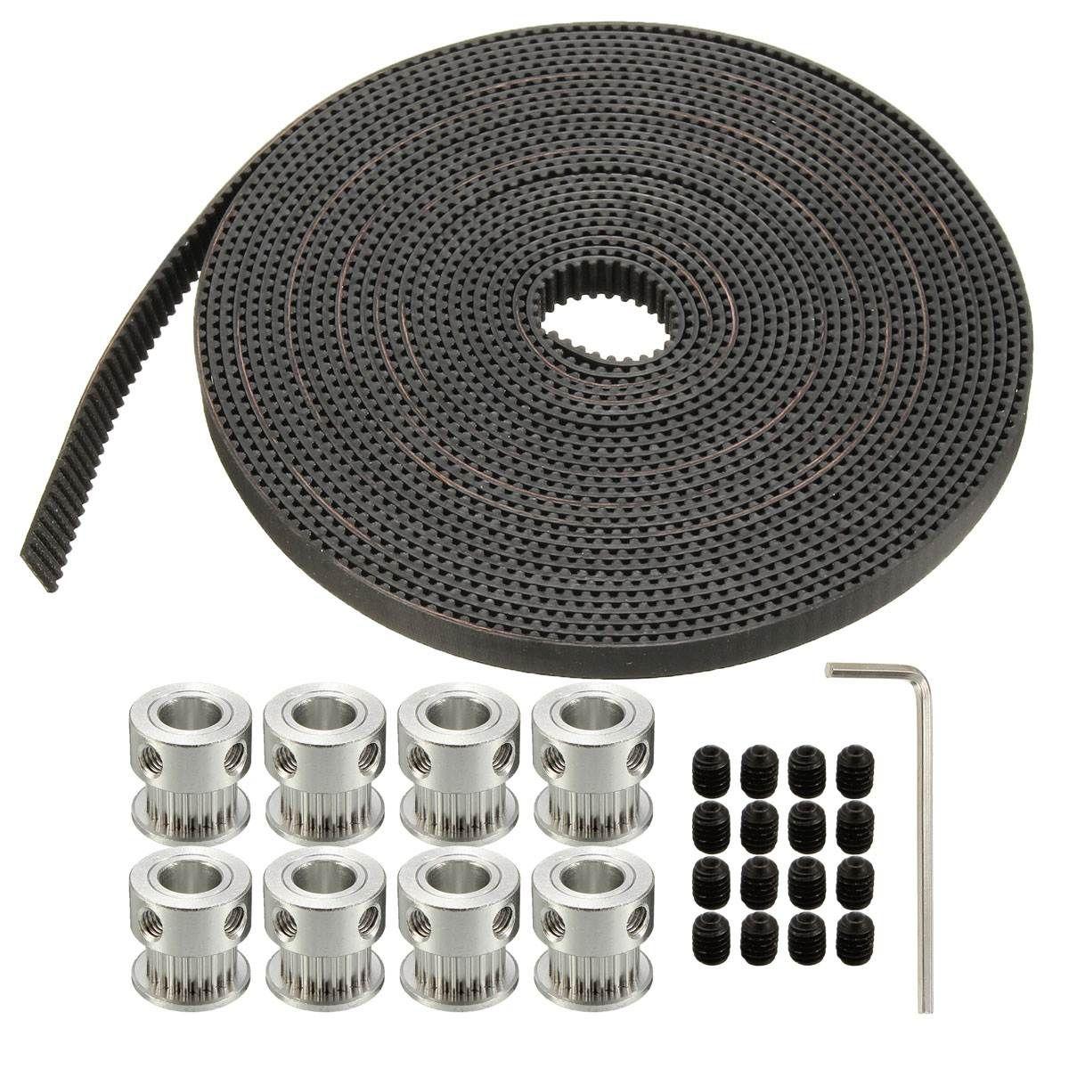 16 Stücke Schrauben 8 STÜCKE GT2 20 T Bohrung 8mm Zahnriemenscheibe & 5 mt Gürtel Für RepRap 3D drucker Großhandel Preis