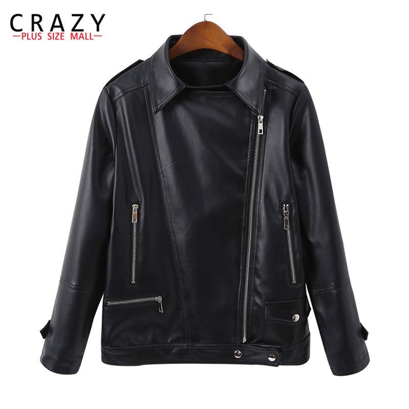 Neue 2019 Frühling Plus Größe 5XL 6XL Frauen Motorrad Zipper Weiche PU Leder Jacken frauen Kurze Design Outwear mäntel b246