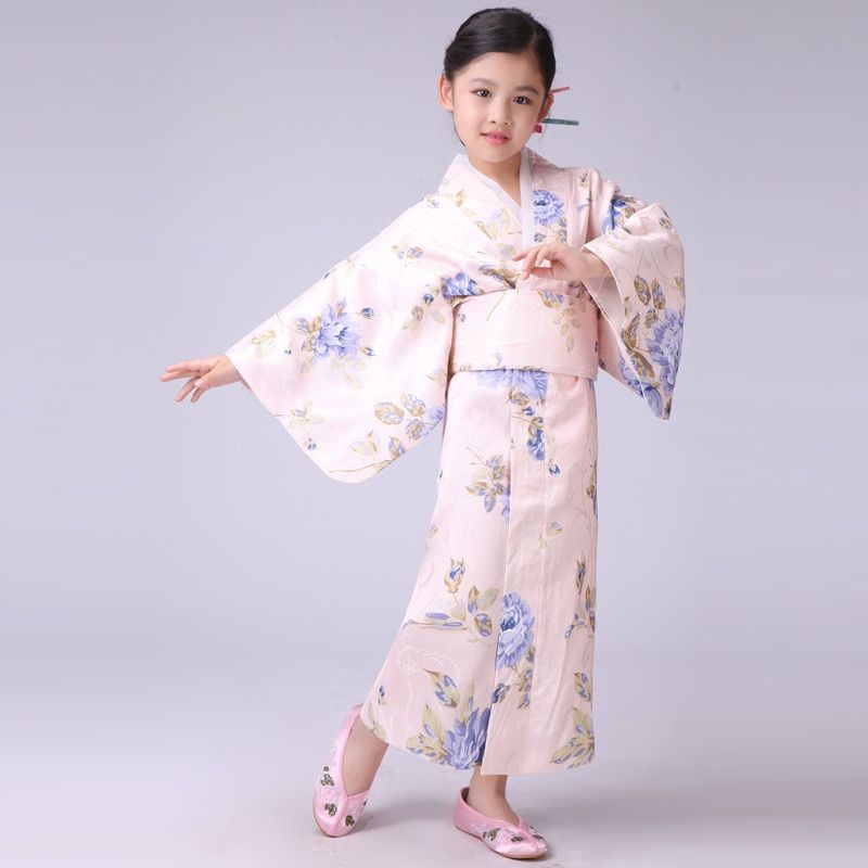 New Stylish Japanese Baby Girl Kimono Dress Cute Kid Yukata With Obi School Girl Dance Costumes Child Cosplay Dress