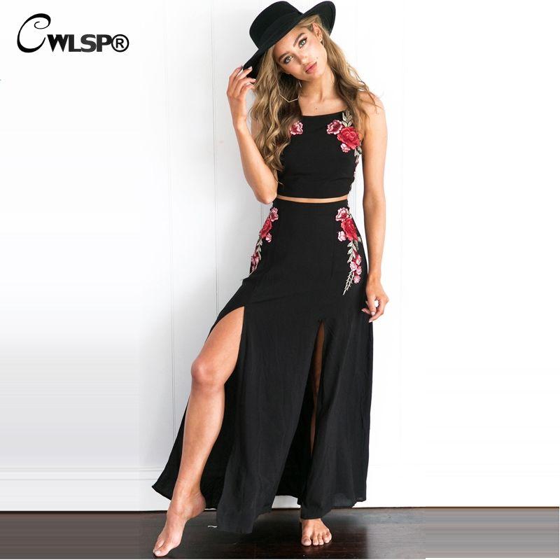 Cwlsp Лето Для женщин два 1 предмет пляжные Вышивка розы укороченный Топ и юбка Sexy Sleevelesss комплект женское платье комплект из 2 предметов Для же...