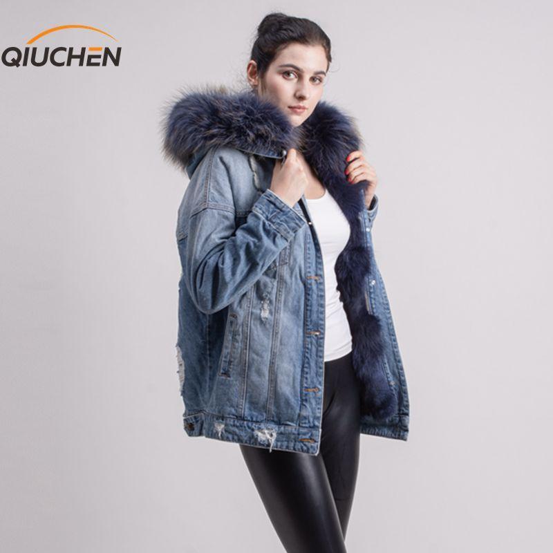 QIUCHEN PJ5053 real fox fur lined denim jacket jeans coat with real raccoon fur collar for winter fur parka