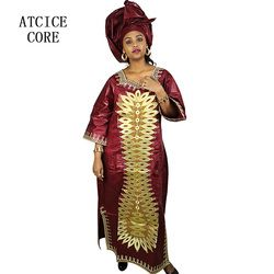 african dresses for women fashion design new african bazin embroidery design dress long dress with scarf two pcs one set LA003#