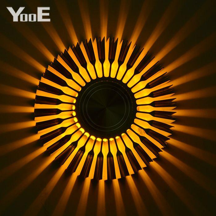 YooE éclairage intérieur 3W mur LED lampes tournesol Projection rayons applique murale AC110V/220 V coloré mur LED jaune clair/bleu/rouge