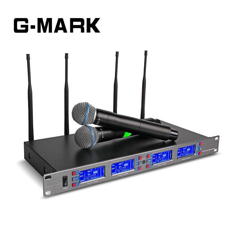 G-MARK Professionelle 4 Handheld Karaoke Mikrofon Wireless System Frequenz Einstellbar 4 kanal UHF empfangen Video Bühne