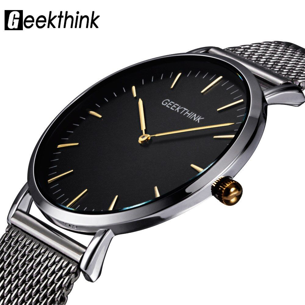 GEEKTHINK Top Luxury Brand Quartz watch men Casual Japan quartz-watch stainless steel Mesh strap <font><b>ultra</b></font> thin clock male New