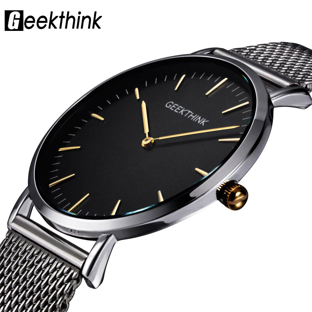 GEEKTHINK Top Luxury Brand Quartz watch men <font><b>Casual</b></font> Japan quartz-watch stainless steel Mesh strap ultra thin clock male New