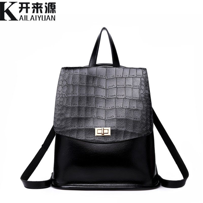 KLY 100% Genuine leather Women Backpack 2018 New shoulder bag women's leisure retro Korean fashion Backpack Crocodile Backpack