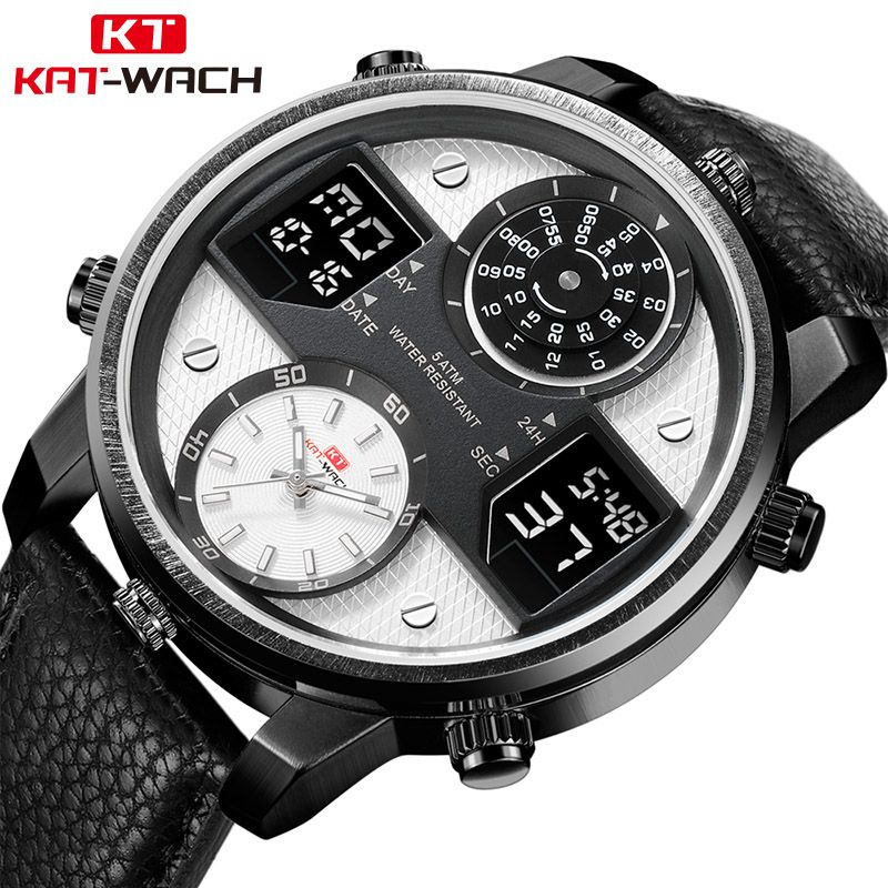 KAT-WACH herren Business Uhren Chronograph Analog Quarz Uhr Männer Datum Leucht Wasserdichte Lederband Mode Armbanduhr