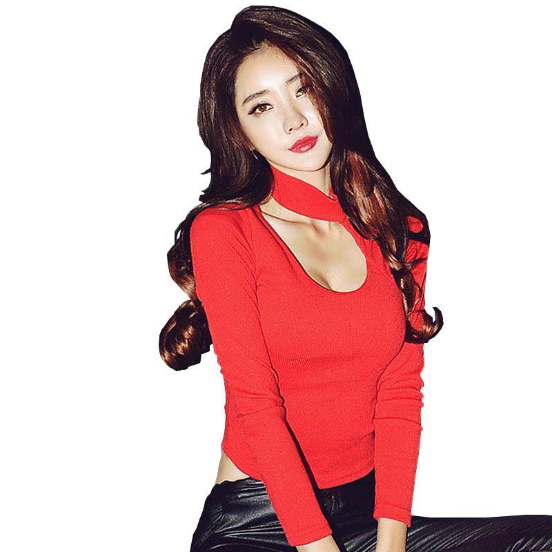 Camisas Femininas 2018 Korean Crop Top Loch T Shirt Frauen Lange Hülsen-rot Sexy Schlank Tshirt Baumwolle T-Shirt Weibliche T Shirt Femme