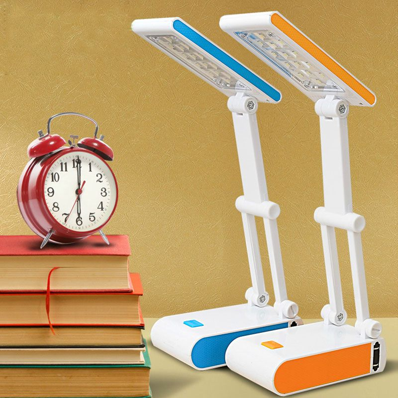 Duration Power Students Mini Reading Desk Lamps 400mAh Battery Folding Rechargeable 14 LED Dimmable Table Lamps Adjustable Lamps