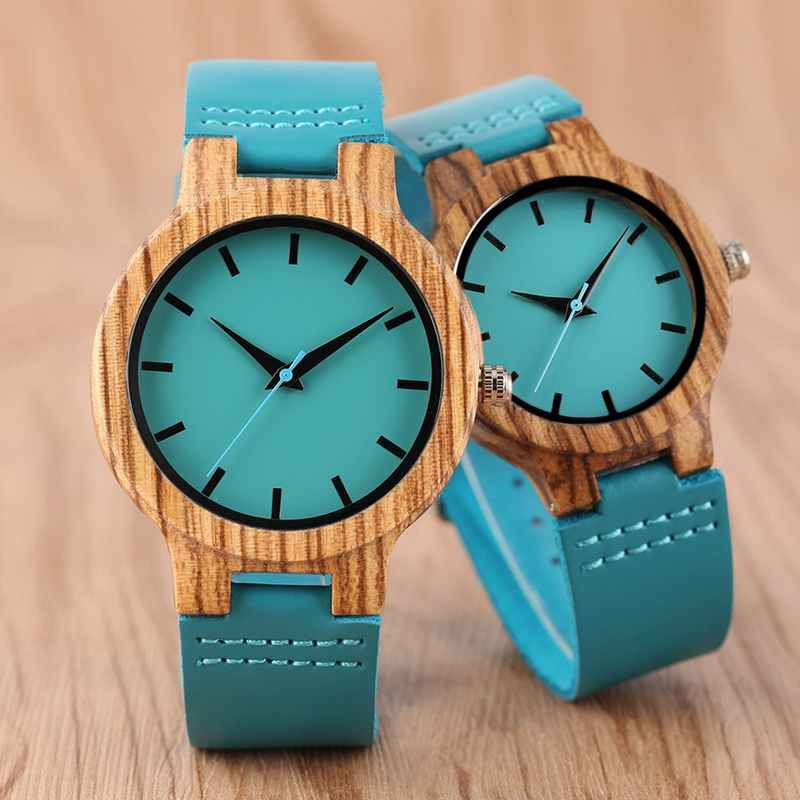 Luxury Royal Blue Wood Watch Top Quartz Wristwatch 100% Natural Bamboo Clock Casual Leather Valentine's Day Gifts for Men Women