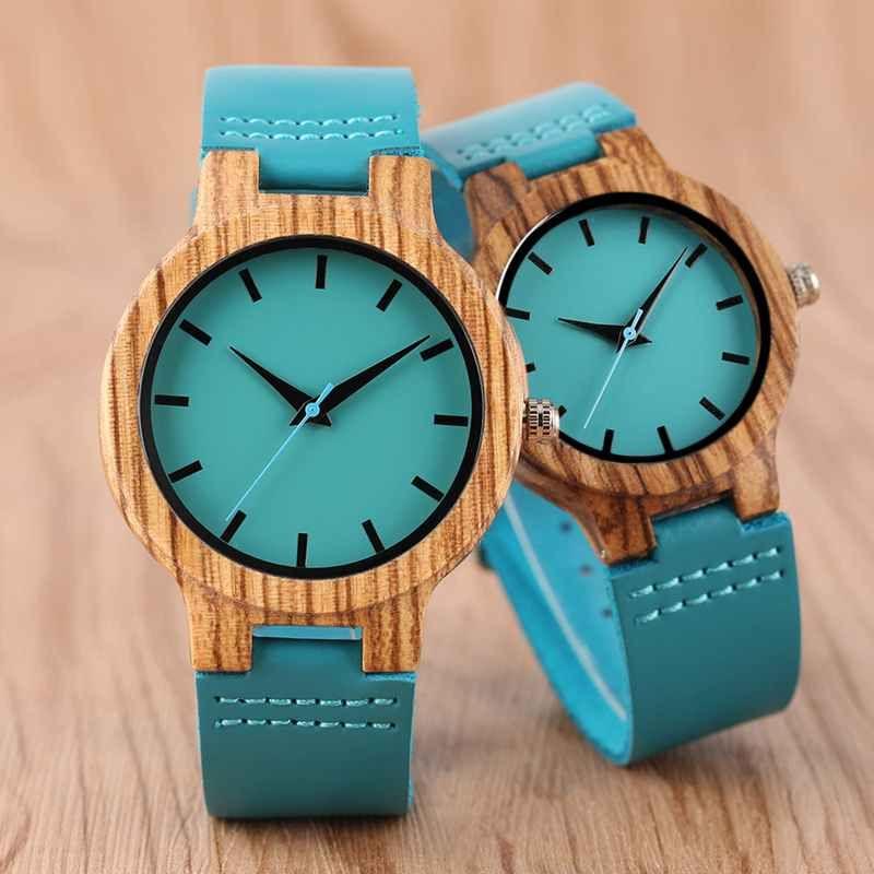 Montre de luxe en bois bleu Royal Top montre-bracelet à Quartz 100% horloge en bambou naturel décontracté en cuir saint valentin cadeaux pour hommes femmes