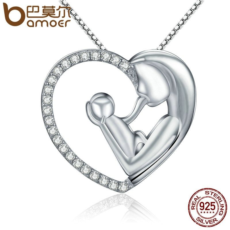 BAMOER Luxury 925 Sterling Silver Deep Love of Parents Heart Dazzling CZ Pendant Necklaces Women Authentic Silver Jewelry SCN138