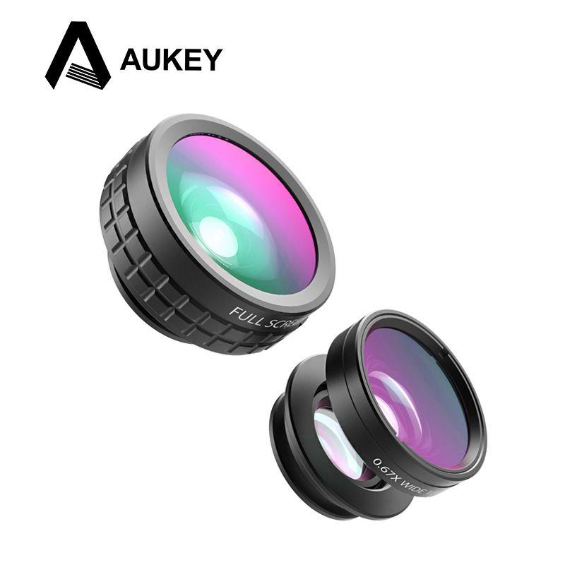 AUKEY Mini Clip-on Optic Cell Phone <font><b>Camera</b></font> Lens Kit 180 Degree Fisheye Lens + 110 Degree Wide Angle + 10x Macro Lens for Phones