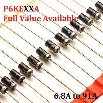 20 PCS P6KE6.8A P6KE6A8 P6KE10A P6KE12A P6KE13A P6KE15A P6KE16A P6KE18A P6KE24A 6.8A/10A/12A/13A/15A/16A/18A/24A TVS Diode P6KE