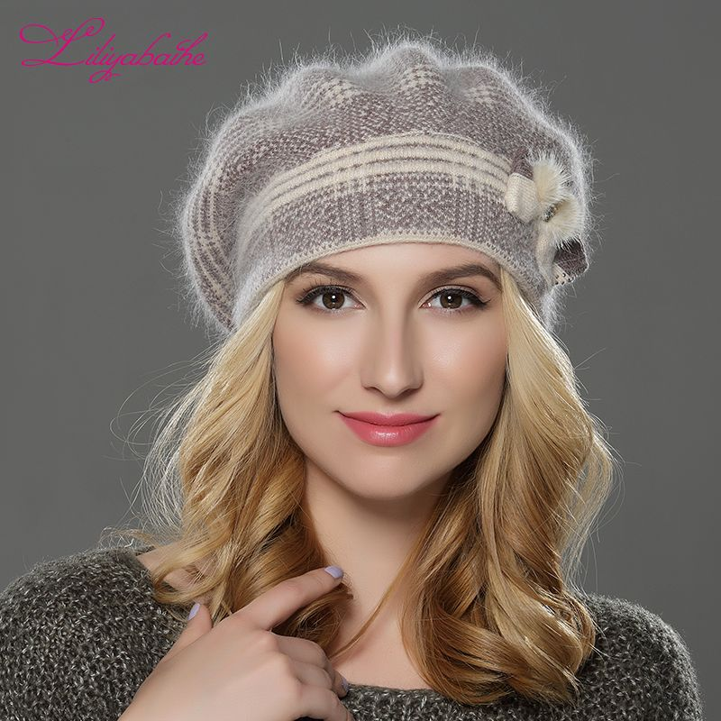 LILIYABAIHE NEW winterWomen beret hat knitted wool angora beret The classic grid of mink <font><b>flower</b></font> decoration cap Double warm hat