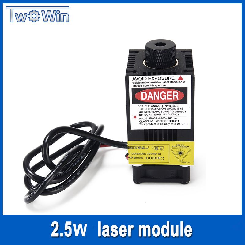 2500mw Laser Module 450NM Focusing Blue Laser Head Laser Engraving,2.5w Laser Tube Diode hx2.54 2p Port+Protective Googles