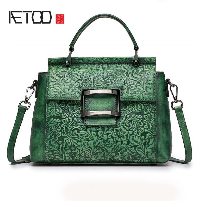 AETOO Female bag Retro leather female Baotou laminated flower color fashion trend shoulder diagonal handbag