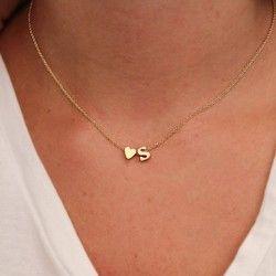 Haute Qualité Dropshipping 26 Lettre et en forme de Coeur Charme Pendentif Colliers pour Femmes Nom Collier Amoureux Cadeau Initiale Ras Du Cou