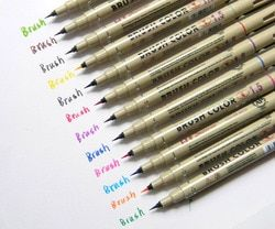 12pc colors 1.5 Sketch Micro brush Calligraphy painting Needle Pen for Cartoon Art Drawing