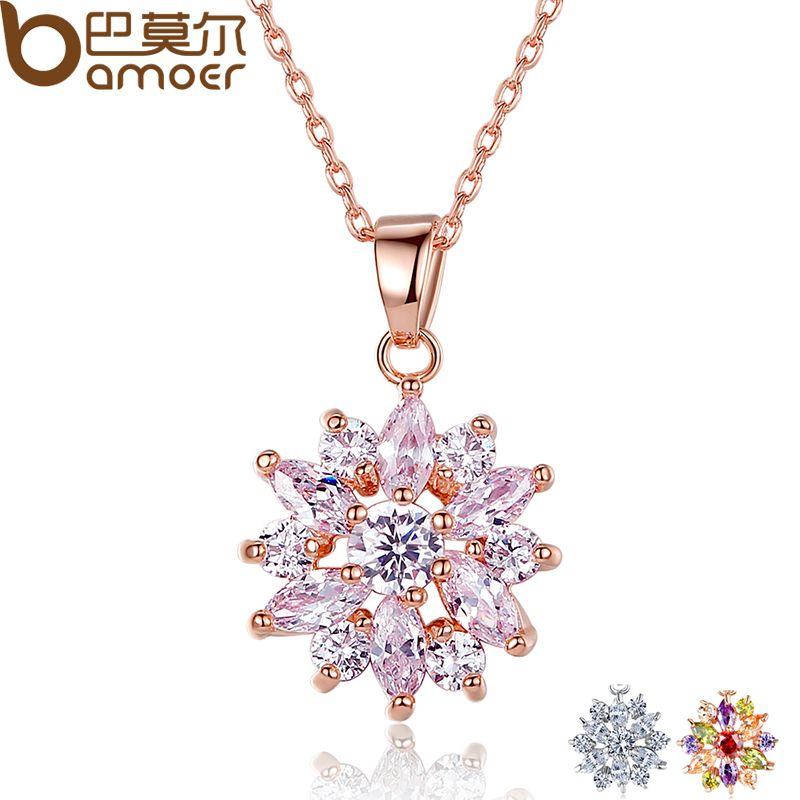 BAMOER Oro Caliente de la Venta Collares de Flores Colgantes de Color con Alta Calidad de Circonio Cúbico Para Las Mujeres Regalo de Cumpleaños JIN024