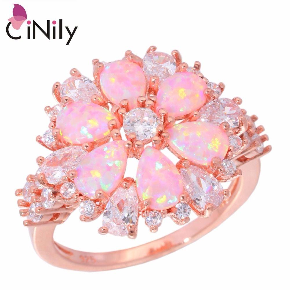 CiNily Lavish grandes bagues opale de feu Rose avec pierre couleur or Rose cristal clair fleur flore fleur de cerisier bijoux femme fille