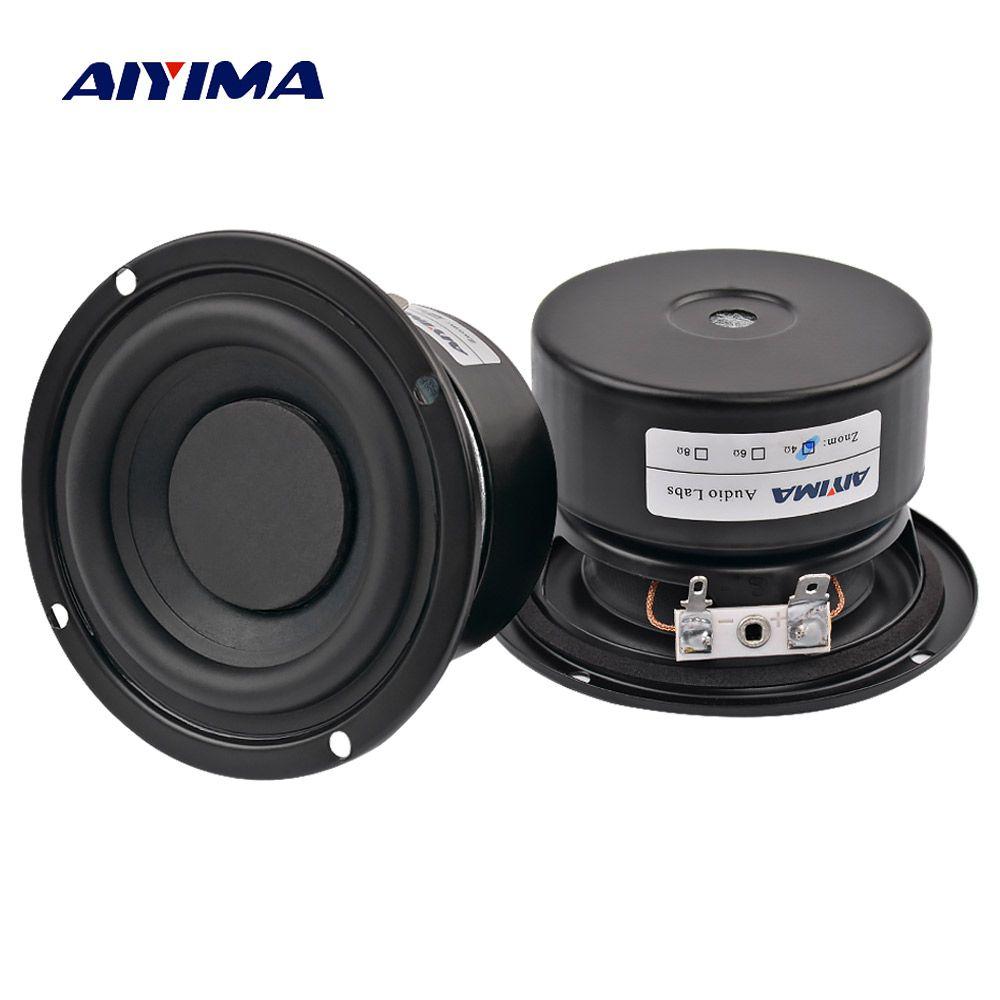 AIYIMA 2 pièces Subwoofer Audio Haut-Parleur Portable Mini haut-parleurs stéréo Woofer Haut-Parleur Pleine Gamme Corne 3 pouces 4 Ohm 8 Ohm 25 W