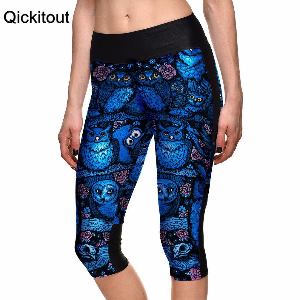 Drop shipping Hot Women's 7 point pants women's leggings Blue Owl digital print women high waist Side pocket phone pant