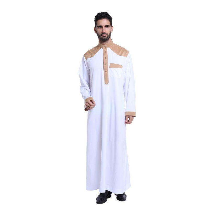 Moda ropa Musulmán para Los Hombres Mens Jubba Kaftan Abaya Árabe Thobe Blanco ropa de Hombre ropa Islámica Ropa Árabe para hombre