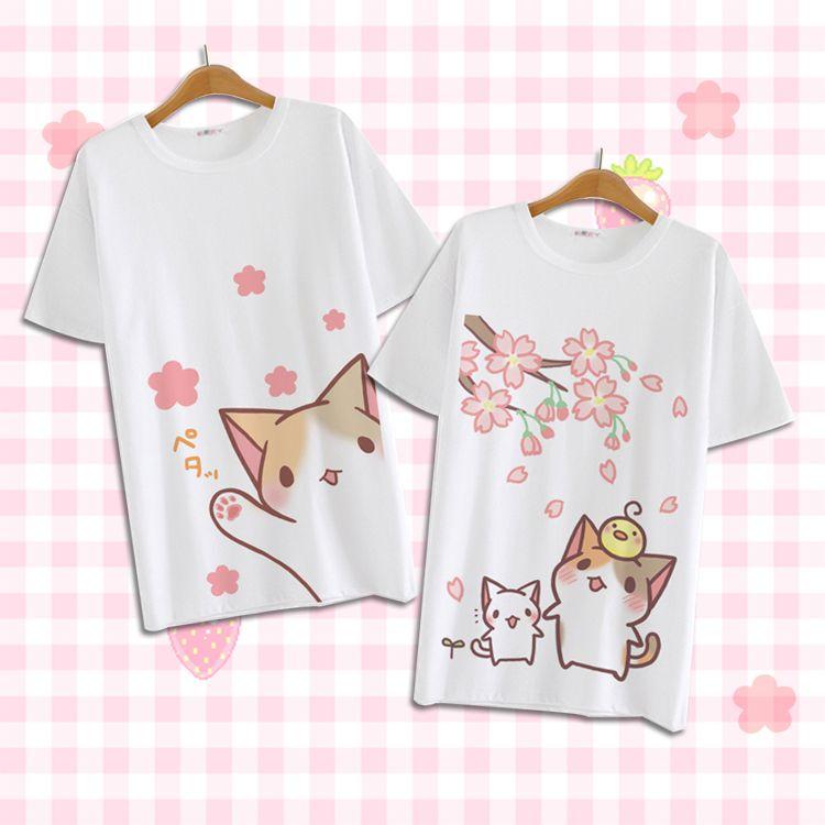 Summer Harajuku Shirt Neko Atsume Anime Cartoon Japanese Kawaii Clothes Casual Female T-shirt Cat Tops Tee