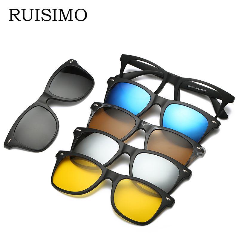 RUISIMO 5 lenes Magnet Sunglasses <font><b>Clip</b></font> Mirrored <font><b>Clip</b></font> on Sunglasses <font><b>clip</b></font> on glasses Men Polarized <font><b>Clip</b></font> Custom Prescription Myopia