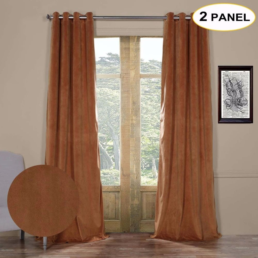 MOMO Velvet Lined 100% Blackout Solid Grommet Top Thermal Curtains Window Drapes For Living Bedroom With Custom Size (2 Panels)