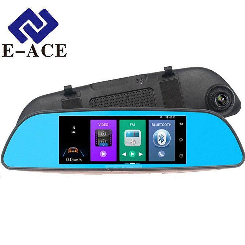 E-ACE 7.0 pouces Android GPS voiture Dvr détecteur de Radar WIFI Bluetooth automobile rétroviseur caméra Dashcam double enregistreur vidéo