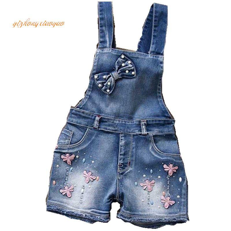 2017 année printemps Autu enfants salopette jeans vêtements pur coton faisant fille 2-7 ans, bébé/infantile filles bavoir pantalons filles dres