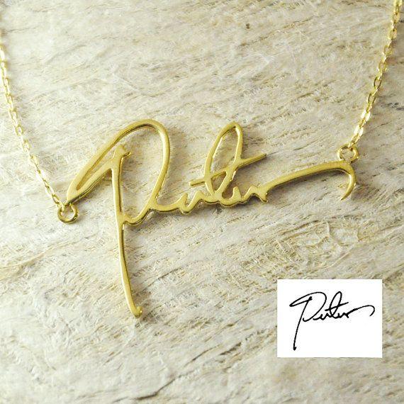Personnalisé Écriture Nom Collier Or/Argent Plaqué Signature Personnalisée Collier Un Bon Cadeau Votre Style D'écriture Collare