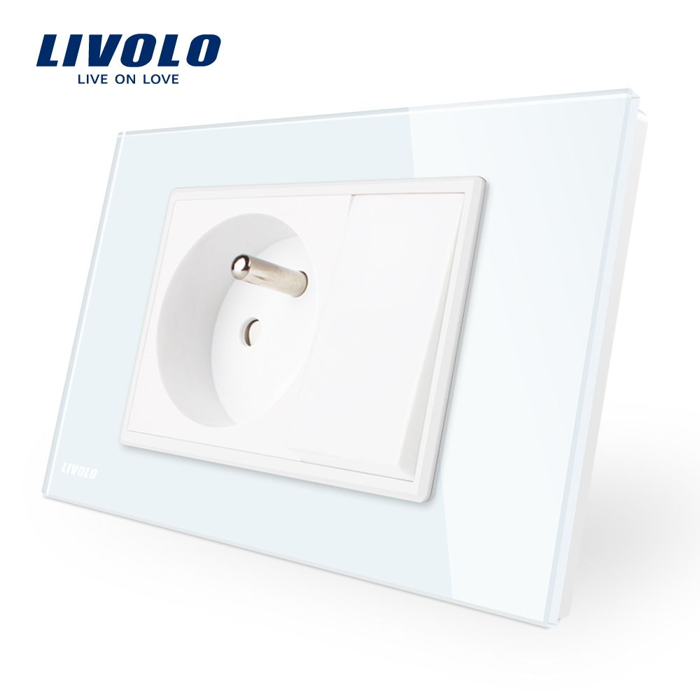 Manufacture Livolo one Gang French Power Socket with One Push Button , White Glass Panel, AC 110~250V 16A, VL-C9C1FR1K-11