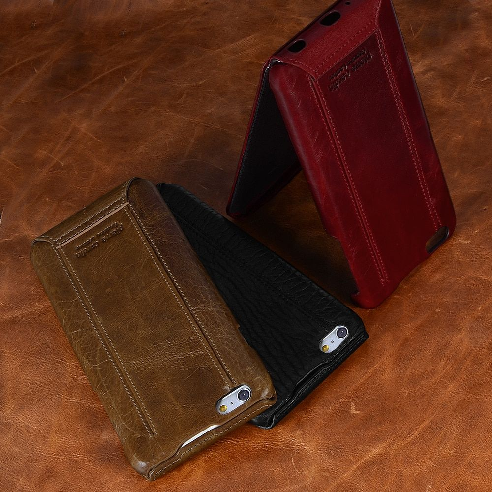 Pierre Cardin Genuine Leather Hard Cover Flip Phone Case Open Up and Down For iPhone 7 7Plus SE/5s/5 6/6s 4.7