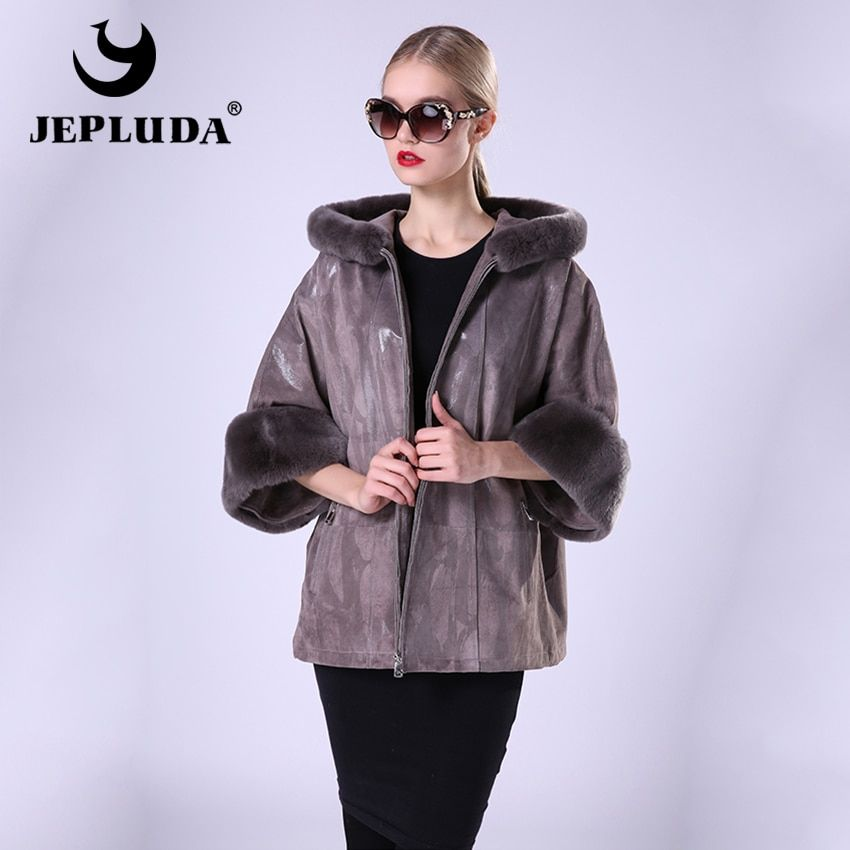 JEPLUDA New Fashion Women's Leather Coat With Hooded Leather Jacket Women Casual Loose Jacket With Rex Rabbit Fur Detachable
