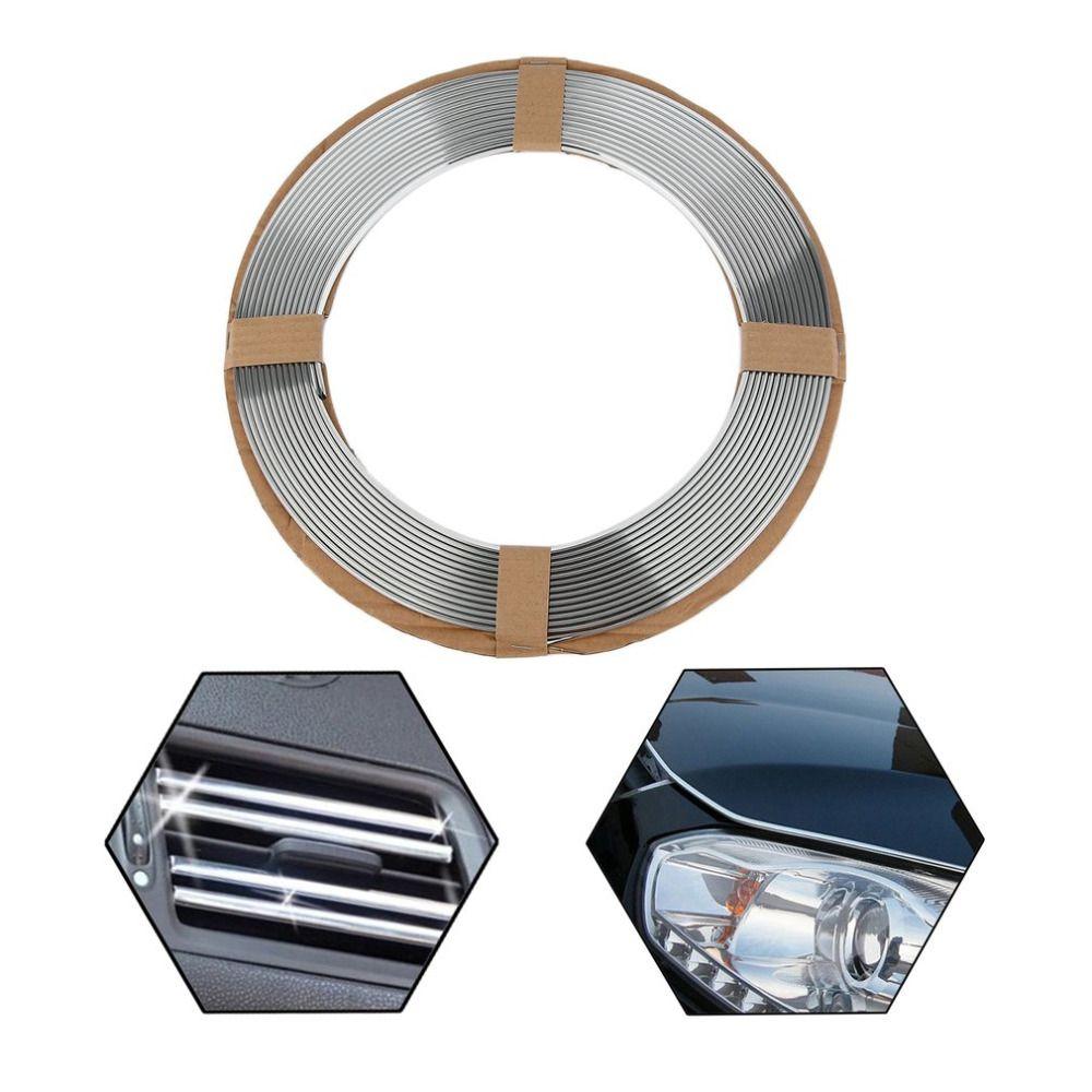 14 m Rollo Suave Universal PVC chrome Silver Car Truck Decoración Moulding Tira de Ajuste Auto Cinta DIY Etiqueta Engomada Del Coche de Protección Styling