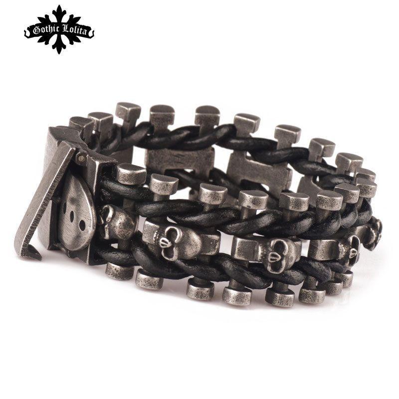 Wide skull skeleton leather bracelet for men