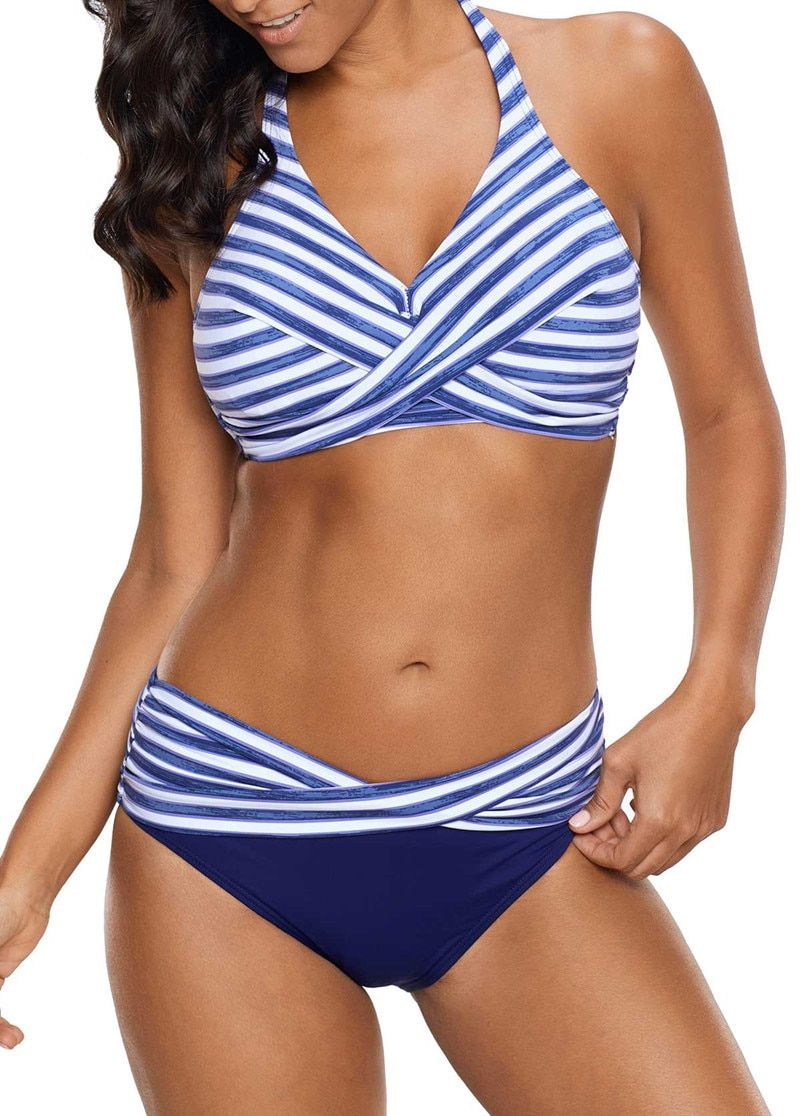 2018 Women's Sexy Backless Striped Twist Front Crossed Tankini Halter Swimsuit Retro Bathing Suits Plus Size Bathing Suit 5XL