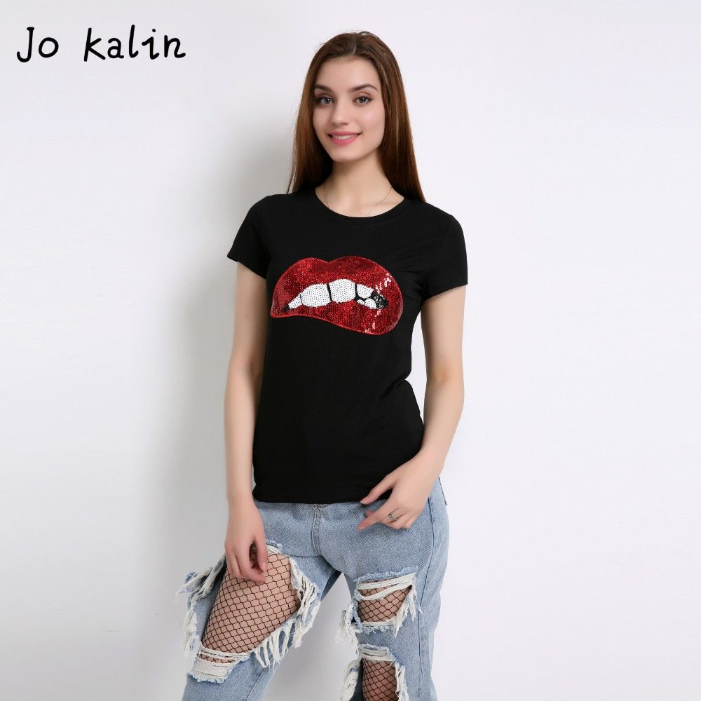 Hot Sale 2018 T-shirts for women summer short sleeve sequin red lips tshirt ladies fitness harajuku white black top tees