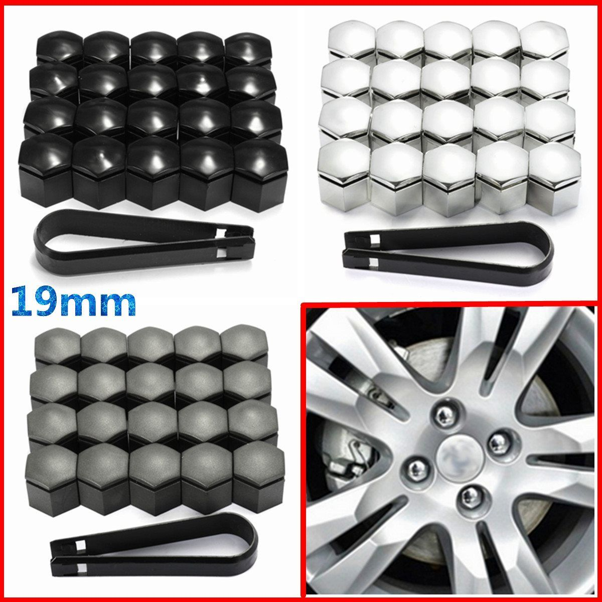 20pcs 19mm Wheel Nut Cover Bolt Cap Protector For Vauxhall Opel Romove Tool Key