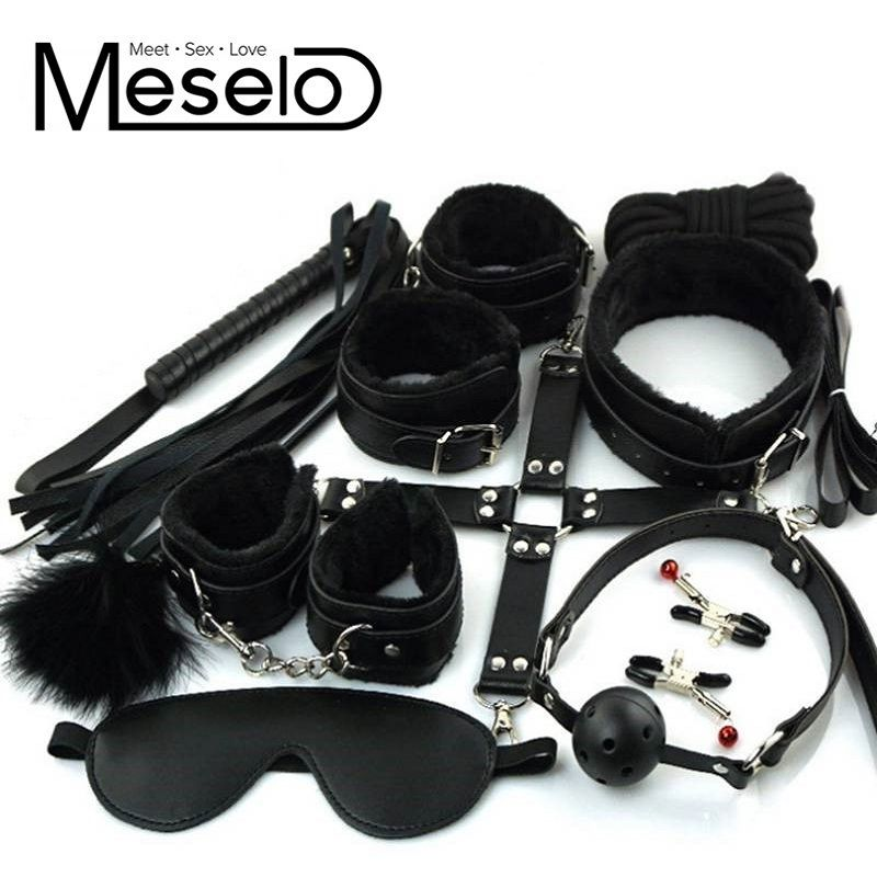 10 pcs/ lot PU Leather Bondage Set EroticToys for <font><b>Couples</b></font> Sexy Handcuffs Nipple Clamps Footcuffs Mouth Gag Whip Eye Mask