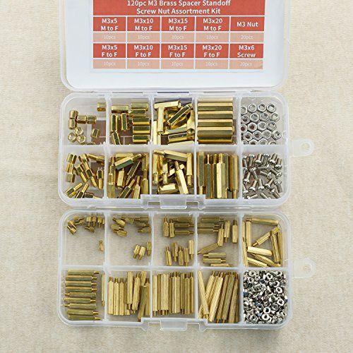 Kit d'assortiment d'écrou à vis entretoise en laiton 380 pc M3 et M2