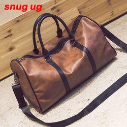 SNUGUG Grande Capacité En Cuir PU hommes de voyage sacs Vintage Seau sacs à main d'épaule sac Grand Volume hommes D'affaires Bagages sac