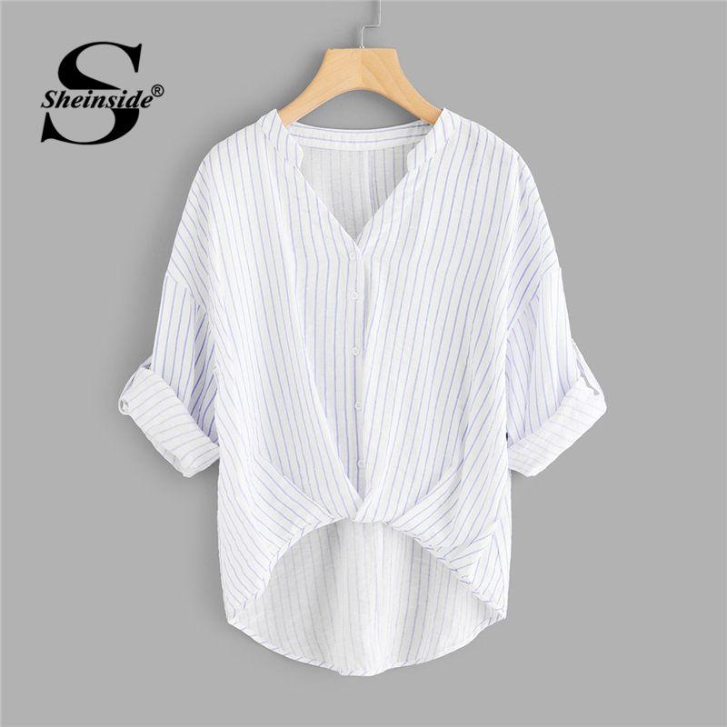 Sheinside Striped Dip Hem Shirt Women Rolled Up Sleeve V Neck Casual Top 2018 Summer Asymmetrical Office <font><b>Work</b></font> Blouse