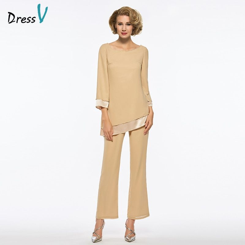 Dressv A-line Mother Of The Bride Dress Pants Suit Long Sleeves Long Simple Formal Party Mother Of The Bride Dress Custom