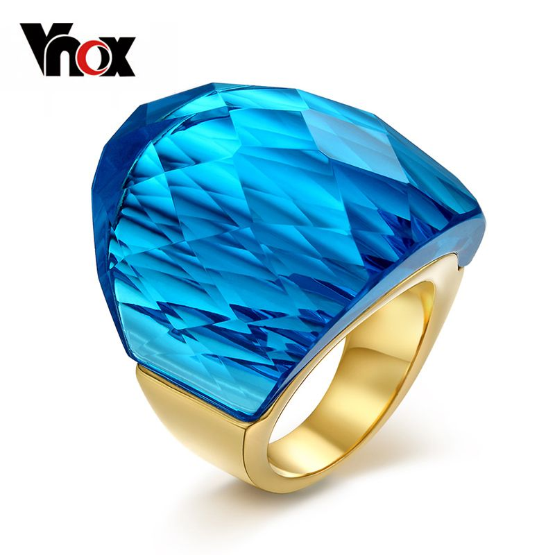 Vnox Large Big Crystal Stone Rings For Women Gold-color Stainless Steel Clear/blue/green/red Color